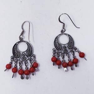 Silver and Red Chandelier Earrings